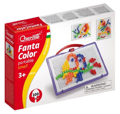 Quercetti 0924 - Mosaik-Steckspiel Fanta Color Portable Small, 100 Stecker in 2 Formen (Dreieck und Quadrat)