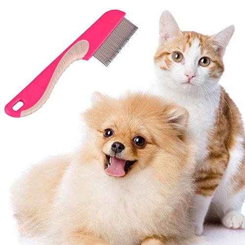 (EMVANV Tierhaaren Flohkamm Edelstahl Pin Hund Katze Fellpflege Bürste reinigen Werkzeug feine Zahnung Floh Fellpflege Stahl Farbe zufällige)