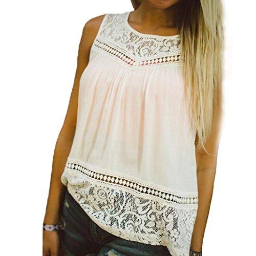Sunnywill Lässige Frauen Sommer Spitze Spleiß Weste Top ärmellose Bluse Tanktops für Mädchen Damen (Für Pin Up Mädchen Halloween)