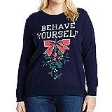 FRAUIT Plus Size Damen Pullover Original HM Icon Crew Weihnachten Frauen Plus Size Weihnachten Christmas Letters Print Sweatshirt Shirt Bluse Tops Oberteil S-5XL