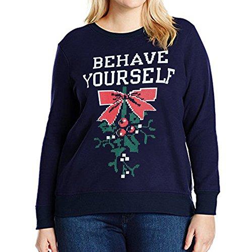 Christmas Sweater Damen UFODB Elegant Frauen Pullover Sweatshirt Pulli Printed Rundhalsausschnitt Weihnachtenpulli Mode Slim Weihnachten Shirt Bluse Tops
