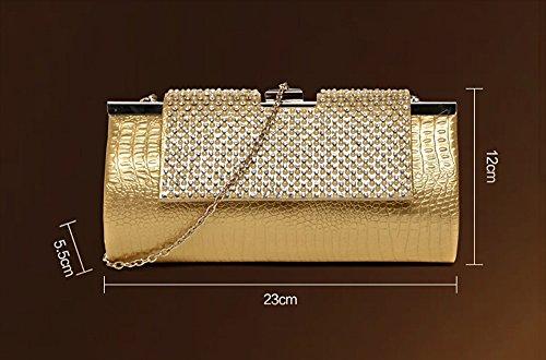Diamant-Paket, Abendtasche, Bankett-Tasche, Braut-Handtasche, Cheongsam-Tasche, Kleidersack, Handtaschen ( Farbe : Black and gray ) Black and gray