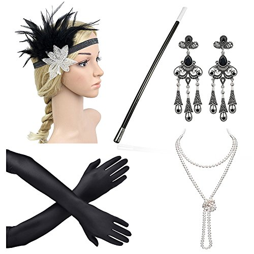Haichen 1920s Flapper Party Headband Earrings Necklace Gloves Cigarette Holder Accessories Set