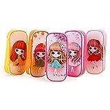 Cute estuche para las niñas, gran capacidad lápiz bolsa bolsa de maquillaje duradero estudiantes papelería con doble cremallera, color rosa