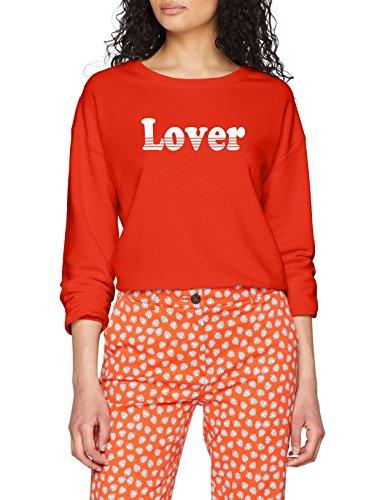 Vila Clothes Damen VIAMORE Sweat TOP Sweatshirt, Orange (Orange.Com Print: Cloud Dancer), 36 (Herstellergröße: S)