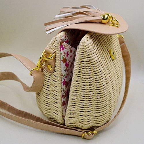 LAHAUTE mini stroh Tasche für Damen und Mädchen süße Schultertasche kleine Cluthes beige