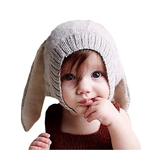 EROSPA® Süße Baby-Winter-Mütze mit Hasenohren Rabbit Strickmütze Beanie Mädchen Jungen Kaninchen ()