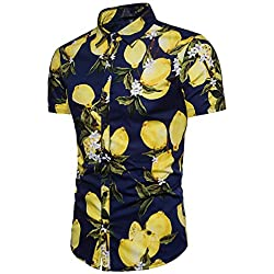 Funky Camisa Hawaiana | Señores | S - XXL | Manga Corta | impresión De Hawaii | Limón Azul Oscuro M