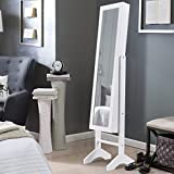 COSTWAY Schmuckschrank mit Beleuchtung Schmuckregal Spiegelschrank Standspiegel mit Spiegel weiß