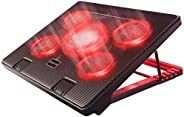Kootek Laptop Cooler Cooling Pad, 5 Quiet Red LED Fans Up to 17 Inch Gaming Cooler Pad, Laptop Notebook Cooler