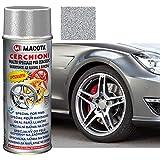 TRS®MACOTA Vernice Spray Alluminio 200 ML Smalto Acrilico Cerchioni AntiGraffio Auto Professionale Resistente AD Alcool E Benzina Nitro-Acrilico VERNICIATURA Cerchi Moto