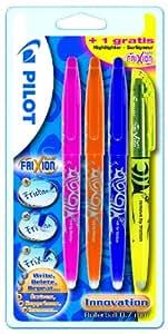 Pilot 2260B4T / Frixion Ball Lot de 3 stylos roller / 1 surligneur Rose/orange/violet / Surligneur jaune (Import Allemagne)