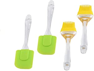 K Creations Combo Silicone Brush and Spatula for Seasoning Cooking Oiling Barbeque Grilling Butter-Mixing Baking for Kitchen (Set of 4)