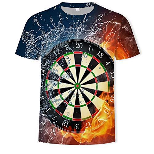 T-Shirts,Darts Werfen Spielgrafiken T-Shirt, 3D-Digitaldruck Herren Kurzarm - Donna Werfen