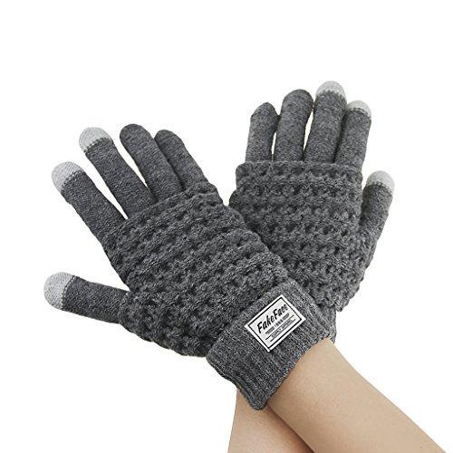 Signore delle donne di inverno dello schermo a maglia tocco caldo guanti mitten scaldamani texting touchscreen gloves per i telefoni compresse