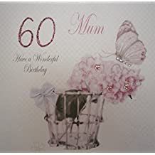 White Cotton Cards Mum Have a Wonderful 60th Vintage Tarjeta de felicitación de cumpleaños, blanco