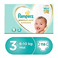 Pampers Premium care Diapers, Size 3, Midi, 6-10 kg, Mega Box, 116 Count