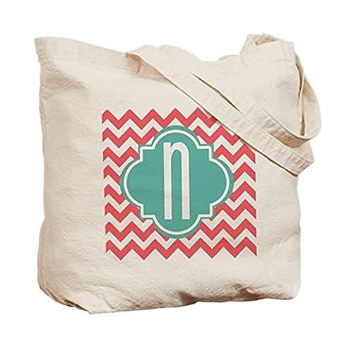 CafePress Buchstabe N Zickzack gestreift Monogramm Tasche–Standard mehrfarbig