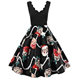 BaZhaHei Damen Weihnachtskleid Elegant Abendkleid Vintage Weihnachten Party Kleid Mesh Brautkleid Retro Cocktailkleid Rockabilly Minikleid Kleidung Lange Kleider Prom Swing Dress