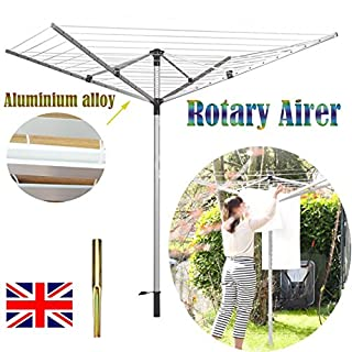 AutoBaBa Aluminium Rotary Airer 4 Arm 40M Folding Rotary Washing Line Clothes Airer Dryer Outdoor Ground Spike