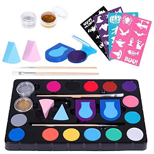 FRCOLOR Schminke Make-Up,Kinderschminke Set 16 Farben Schminkpalette 40 Schablonen Profi Schminkfarben für Parties, Gesichtsfarbe für Kinder Halloween Karneval Make-up Gesichtsfarbe Bodypainting
