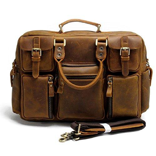 ZC&J Herren-High-Grade-Business-Umhängetasche, die erste Schicht aus Leder wasserdicht und langlebig tragen Multi-Tasche Schulter, Herren Leder-Computer Tasche Kurztour Messenger Bag B