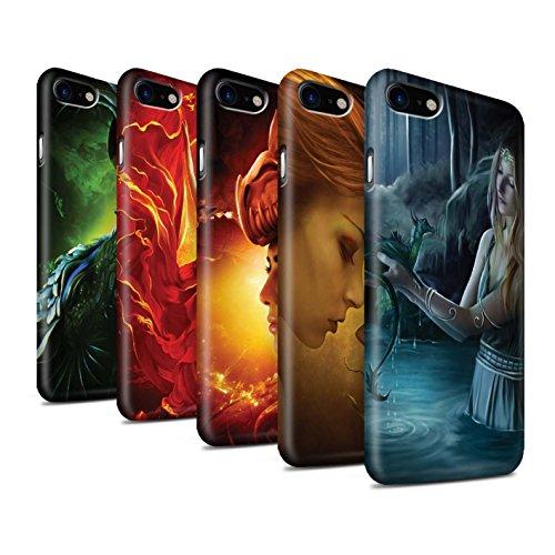 Officiel Elena Dudina Coque / Clipser Matte Etui pour Apple iPhone 7 / Écailles Vertes Design / Dragon Reptile Collection Pack 5pcs