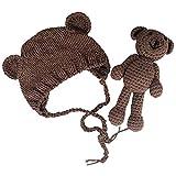 Jastore Neugeborenen Fotoshooting Kostüm Junge Mädchen Bär Mützen Fotographie Prop Crochet Geschenk Baby Kleidung neuborn (Braun)