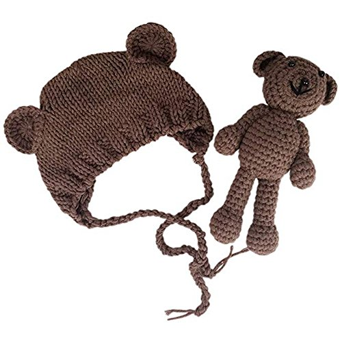 Bär Mädchen Kostüm - Jastore Neugeborenen Fotoshooting Kostüm Junge Mädchen Bär Mützen Fotographie Prop Crochet Geschenk Baby Kleidung neuborn (Braun)