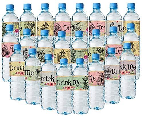 Alice im Wunderland Flaschentücher - 24 Alice Wasserflaschen-Etiketten - 8 verschiedene tolle ()