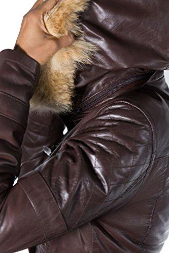 Cappotto di cuoio in pelle di pecora con cappuccio. Marrone