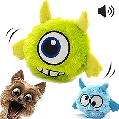 FIRIK Dog Toy Squeaky Automatic Ball Interactive Plush Electronic Motion Shake Crazy Bouncer Toy for Small Medium Doggie