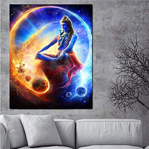 Druck Wand Indische Kunst Religiöse Buddha Porträt Shiva Lord Malerei Auf Leinwand Psychedelic Poster Moderne Bild Für Wohnzimmer 40X50 cm Ohne Rahmen