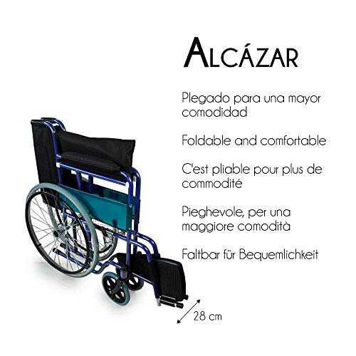51jzn0DtESL - Mobiclinic Alcázar Silla de Ruedas Plegable, Manual, Ancho Asiento 46 cm, Azul/Negro