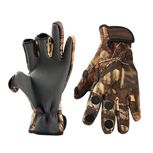 Gants de pêche pour homme/femme, Trois doigts repliables, Respirables, Antidérapant, Étanches, pour pêche ou chasse., camouflage, moyen