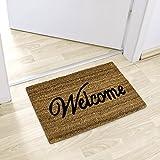 Relaxdays Coconut Fibre Coir Welcome Doormat 40 x 60 cm Mat with Anti-Slip PVC Underside, Brown