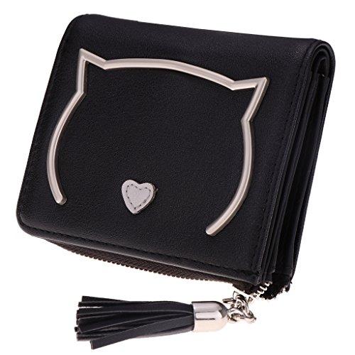 MagiDeal Süß Katze Reißverschluss Mini Beutel Geldtasche Geldbörse Kurz Portemonnaie Münzen Tasche Kreditkartentasche Organisator für Frauen Mädchen - Schwarz