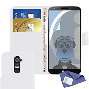 iTALKonline LG G2 PU Leather WHITE Executive Flip Wallet Book Case Cover with Credit / Business Card Holder and LCD Screen Protector plus MicroFibre Cleaning Cloth
