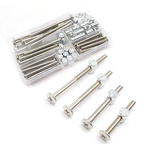 M6 Bettschrauben, Möbelkopf-Muttern, Sortiment Kit, binifiMux 40 Set, Kreuzschlitzkopf, M6 x 50 mm/60 mm/70 mm/90 mm, sortiert, Krippenbolzen Zylindermutter