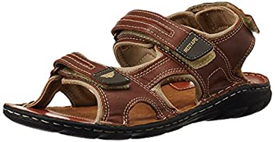 Redtape Men's Brown Leather sandals and floaters - 11 UK