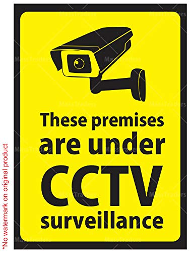 CVANU Warning Sign Sticker for CCTV Security Camera (Pack 4) CV-1