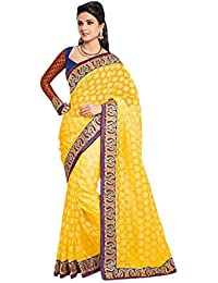 Hypnotex Designer Party Wear Yellow Tissue Brasso Saree