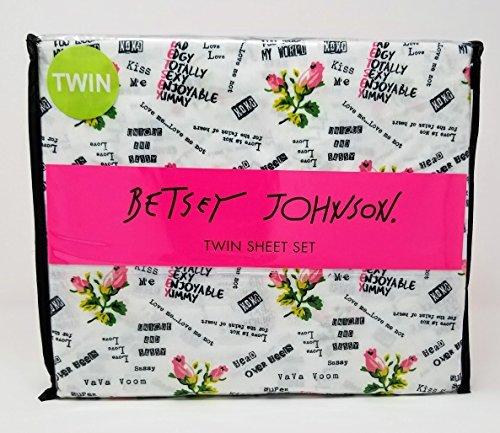Betsey Johnson 3pc Twin Sheet Set - Pink Flowers and Punk Rock Love BBG (Betsey Johnson Rock)