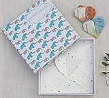 Deingastgeschenk Idea Regalo per Battesimo o Nascita Happy Elephants, Blu, 17 x 17 x 3 cm