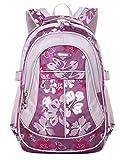 Happy Cherry Schulrucksack Blumen Schulranzen Schultasche Sports Rucksack Freizeitrucksack Daypacks Backpack für Mädchen Jungen Kinder Damen Herren Jugendliche-Lila