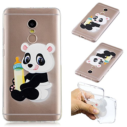 "CaseLover Xiaomi Redmi Note 4 Hülle, Transparent Schutzhülle Mode Handy Case Xiaomi Redmi Note 4 5,5"" Silikon Case, Weiche TPU Handyhülle Shockproof Handy Cover, Panda und Babyflasche"