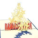 Geburtstagskarte 3D Pop Up Karte zum Geburtstag, handgefertigt, Grußkarte, Karte zum Geburtstag (Sterne leuchten)