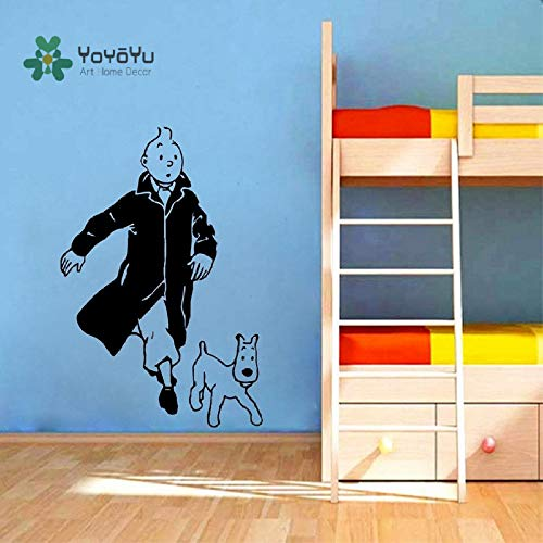 xingbuxin Wandtattoo Cartoon Wandaufkleber Kinderzimmer Dekoration Tim und Struppi Mit Hund Vinyl Vintage Poster Abnehmbare schwarz 83X56 cm
