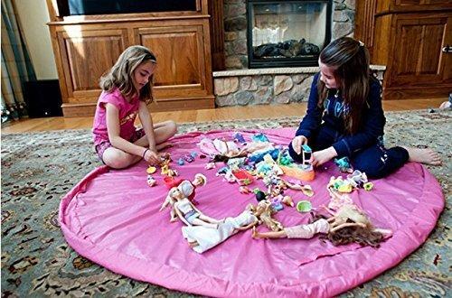 philna1259pulgadas Diámetro de bebé Niños Juegan suelo Mat juguete bolsa de almacenamiento organizador (rosa)