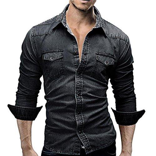 Ashop abbigliamento uomo, camicia uomo maniche lunghe, camicie da uomo retro denim camicia camicetta da cowboy sottili cime lunghe sottili (m, nero)